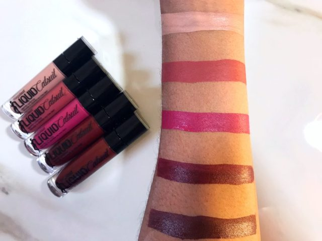 Wet n Wild Liquid Catsuit Matte Lipstick in 920B Nudie Patootie, 925B Give Me Mocha, 926B Berry Recognize, 931B Video Vixen, 932B Goth Topic Swatches on Dark Skin