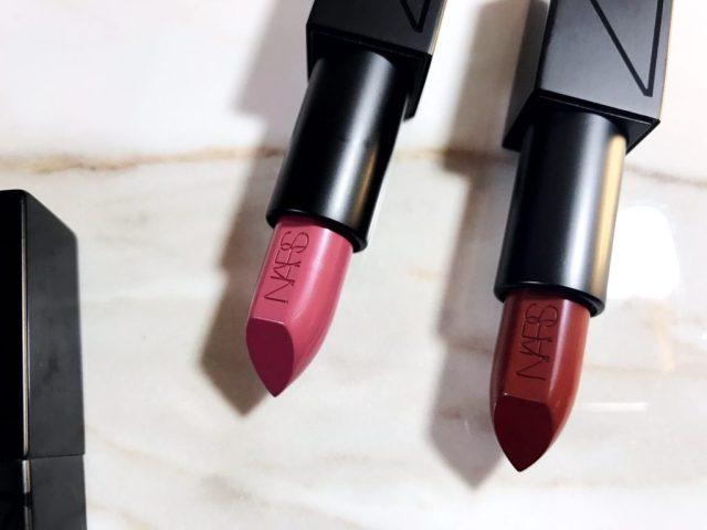 NARS Audacious Lipsticks in Anna and Deborah Swatches on Dark Skin