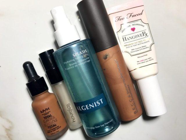 NYX Total Control Drop Foundation, Hourglass No. 28 Primer Serum, Algenist Splash Hydrating Setting Spray, Becca Shimmering Skin Perfector, Too Faced Hanvgover Replenishing Primer Review