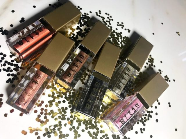 Stila Magnificent Metals Glitter & Glow Liquid Eyeshadows in Ballet Baby, Diamond Dust, Molten Midnight, Smoky Storm, Kitten Karma and Rose Gold Retro Swatches on Dark Skin