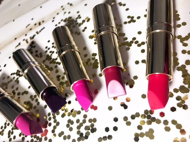 Estee Lauder Pure Color Love Lipstick in 140 Naked City, 220 Shock and Awe, 230 Juiced Up, 400 Rebel Glam, 420 Up Beet, 440 Hi-Voltage, 450 Orchid Infinity, 480 Nova Noir Swatches on Dark Skin