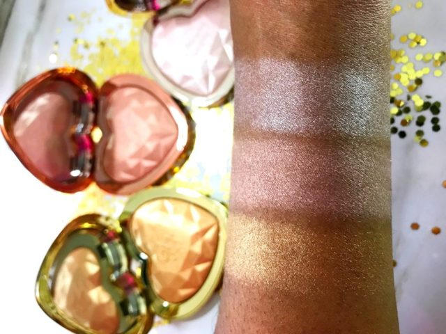 Too Faced Love Light Prismatic Highlighters Swatches on Dark Skin