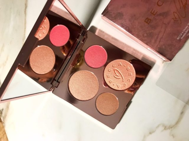Becca x Chrissy Teigen Glow Face Palette Swatches Review on Dark Skin