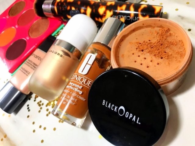 Fancie Faves: Black Opal Deluxe Finishing Powder, Clinique Beyond Perfecting Foundation + Concealer, Marc Jacobs Dew Drops Coconut Gel Highlighter, Smashbox Photo Finish Radiance Primer, Michael Todd SonicBlend Sonic Makeup Brush