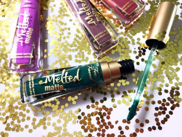 Too Faced Melted Matte Lipstick in Wicked Swatches on Dark Skin