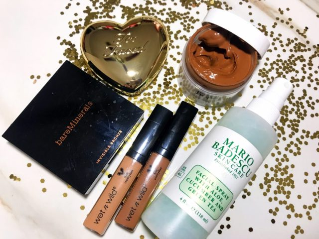 Fancie Faves: BareMinerals Invisible Bronze Bronzer, Wet n Wild Photo Focus Concealer, Philosophy Renewed Hope in a Jar Skin Tint, Too Faced You Light Up My Life Love Light Prismatic Highlighter, Mario Badescu Facial Spray with Aloe Cucumber and Green Tea