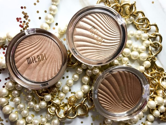 Milani Strobelight Instant Glow Powder 02 Dayglow, 03 Sunglow, 04 Glowing Swatches on Dark Skin