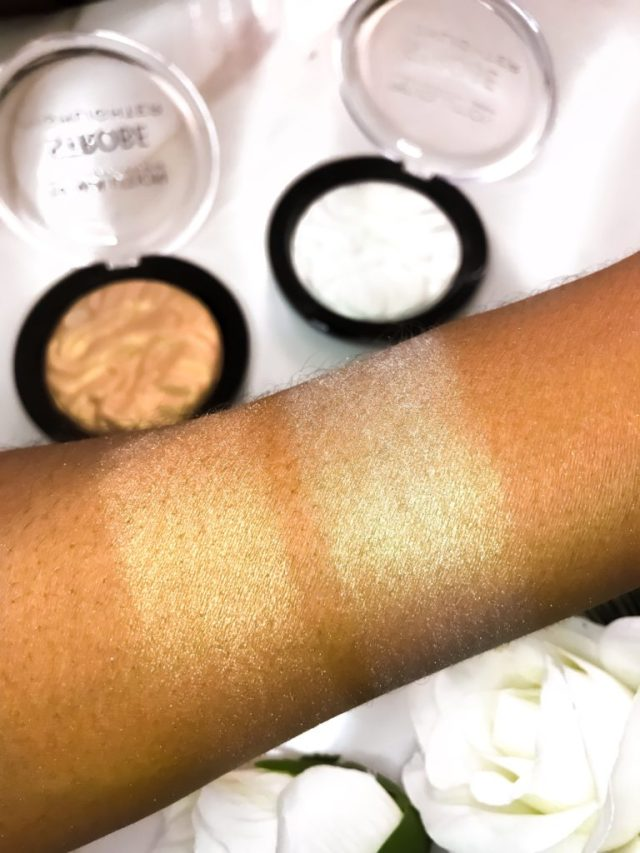 Makeup Revolution Srobe Highlighter Gold Addict Holographic Light Swatches on Dark Skin