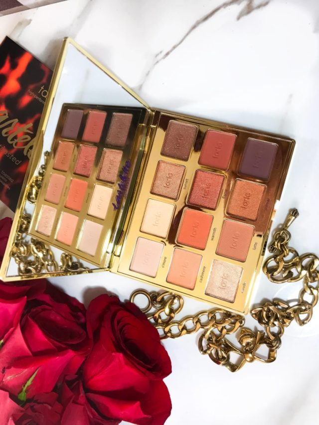 Makeup Palettes for Christmas: Tarte Tartelette Toasted Eyeshadow Palette Swatches on Dark Skin