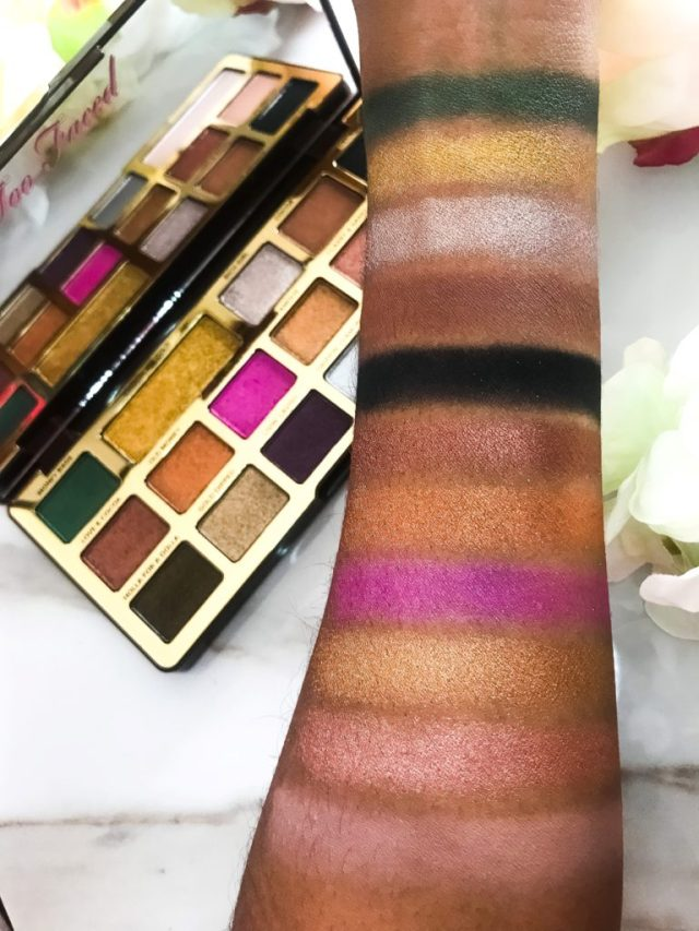 Too Faced Chocolate Gold Eyeshadow Palette Swatches on Dark Skin