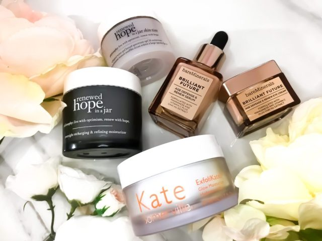 Best Skincare of 2017: Philosophy Renewed Hope in a Jar Overnight Recharging and Refining Moisturizer, Philosophy Renewed Hope in a Jar Skin Tint in 9.5, Kate Somerville ExfoliKate Glow Moisturizer, BareMinerals Brilliant Future Age Defense and Renew Serum Eye Cream