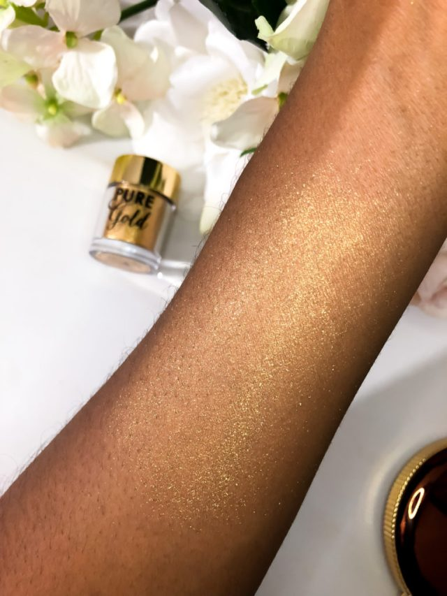 Too Faced Chocolate Gold Collection Swatches on Dark Skin Pure Gold Pigment