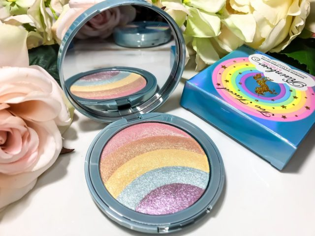 Too Faced Life's A Festival Collection Rainbow Strobe Prismatic Highlighter Swatches on Dark Skin Brown Skin