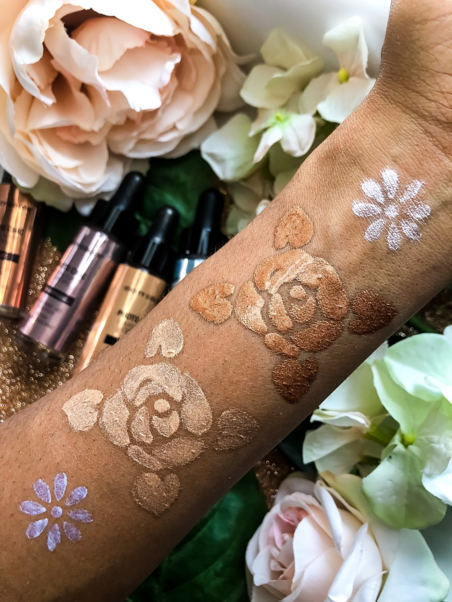 City Color Cosmetics Photo Chic Highlight Drops in Holographic, Champagne, Gold, Bronze Swatches Review on Dark Skin