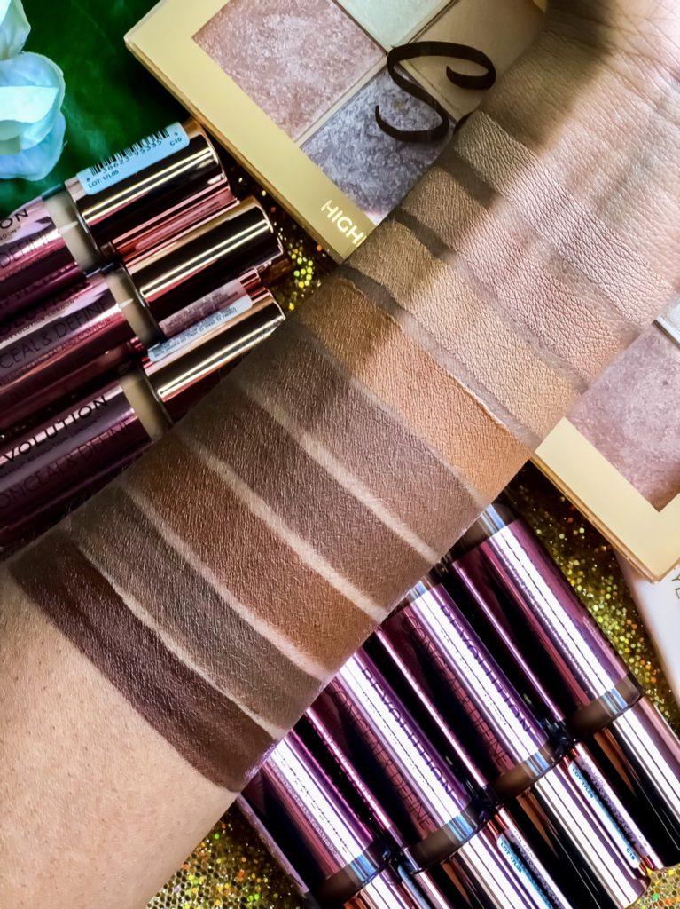 Makeup Revolution Conceal Define Concealer Swatches Dark Skin