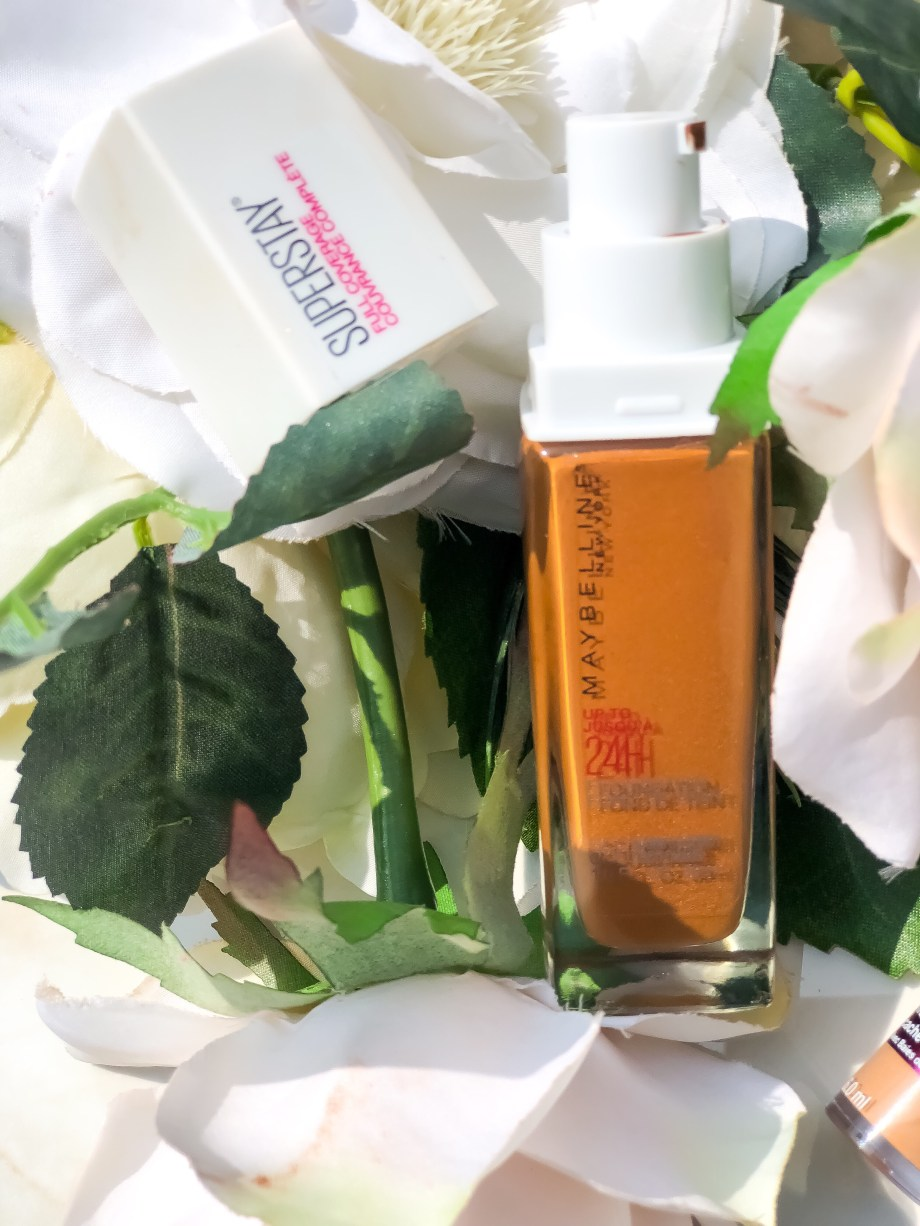 Maybelline Superstay Foundation in 356 Warm Coconut Swatches Review On Dark Skin