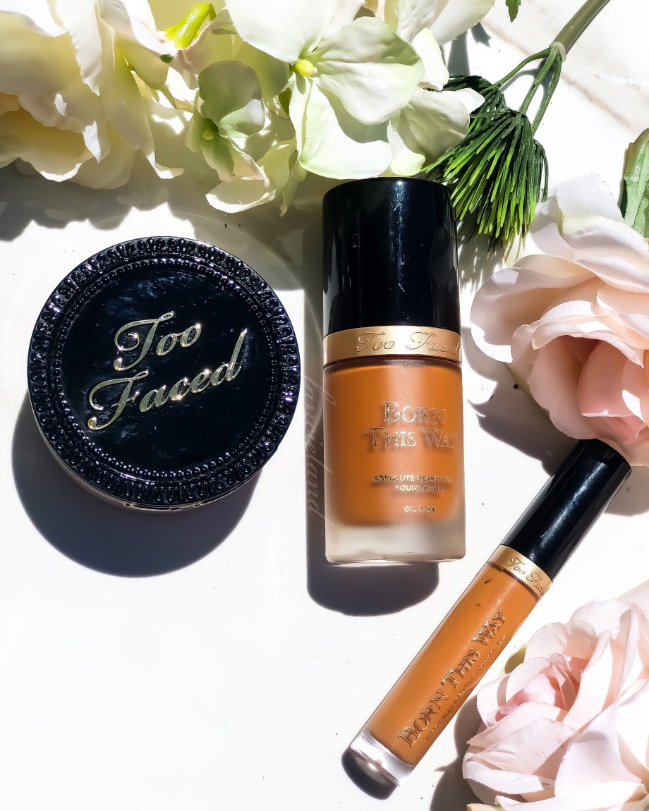 Too Faced x Jackie Aina Born This Way Foundation Review Swatches on Dark Skin: Mahogany, Chai