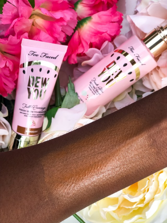 Too Faced Tutti Frutti Collection Dew You Fresh Glow Foundation in Mahogany Swatches on Dark Skin