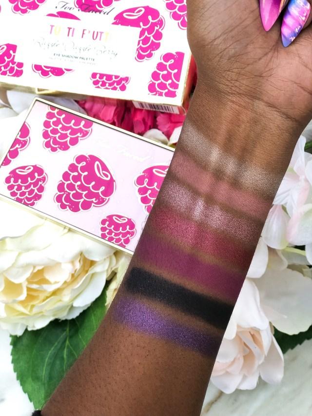 Too Faced Tutti Frutti Collection Razzle Dazzle Berry Palette Swatches on Dark Skin