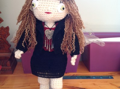 A crochet doll inspired by Vickie the Biker