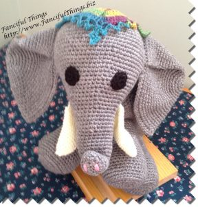 Here is the finished crochet elephant in a sitting position