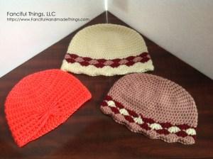crochet hats in need of blocking