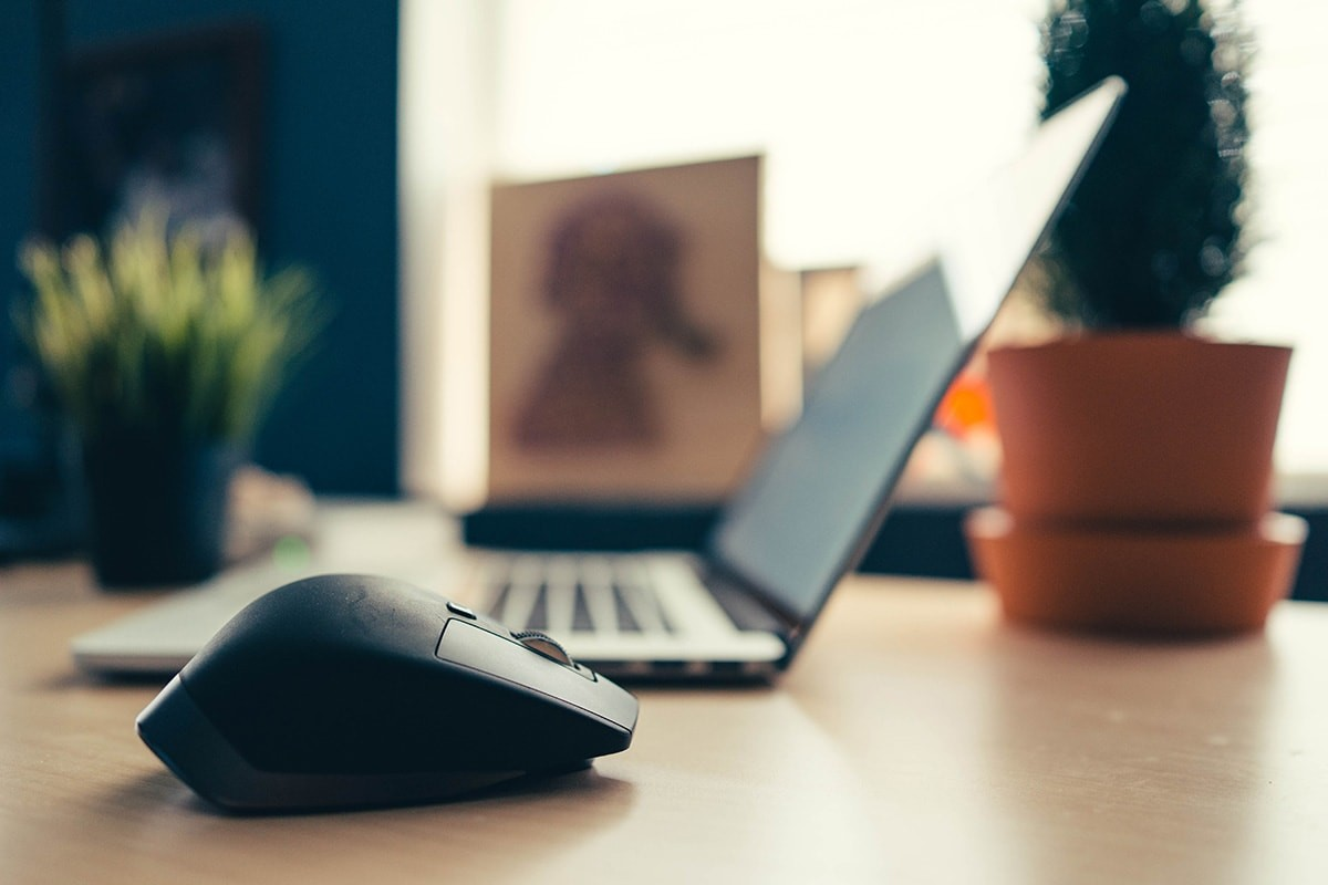 Next office desk Corner Indoor Office Desk Plants And Artwork Are In The Background Sunlight Is Coming Into The Room From Window Shutterstock Black Sleek Wireless Mouse On Flat Desk Surface Next To An Opened