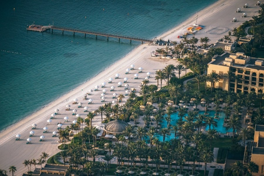 Aerial-View-of-a-Hotel-Resort-at-the-Beautiful-Beach-in-Dubai-UAE