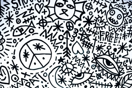 Black-and-White-Doodle-Art-with-Peace-Symbols