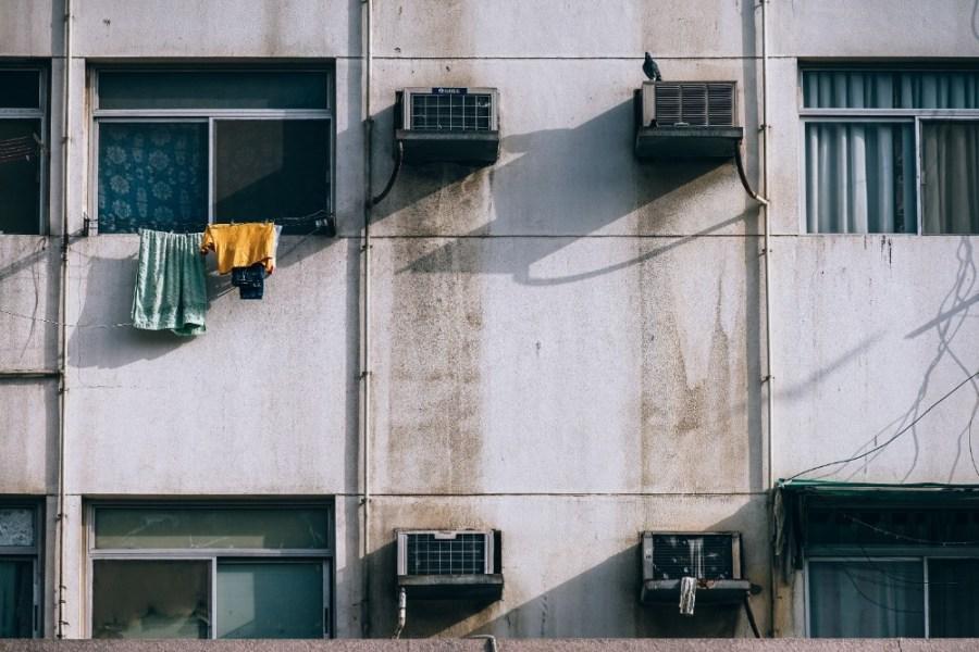 Close-up-Shot-of-an-Apartment-Building-in-Dubai