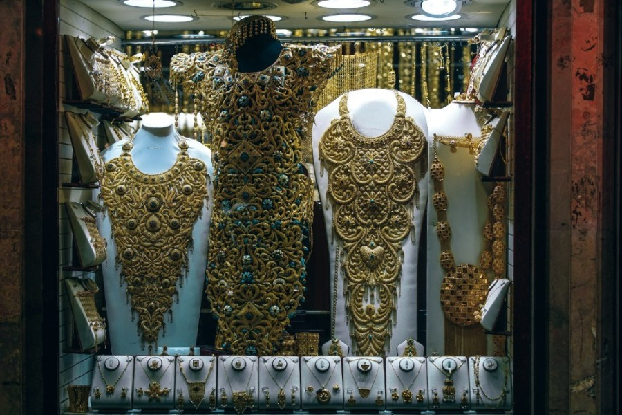 Gold-Dresses-and-Other-Gold-Jewelry-Displayed-for-Sale