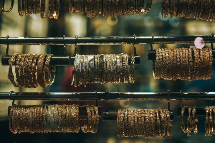 Many Different Gold Bracelets Displayed for Sale in Old Dubai