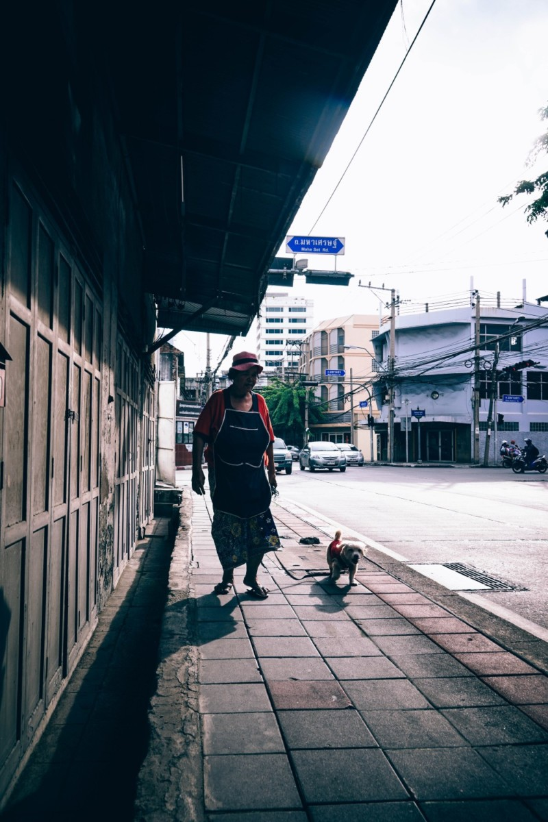 Old-Lady-Walking-Her-Dog-in-Bangkok