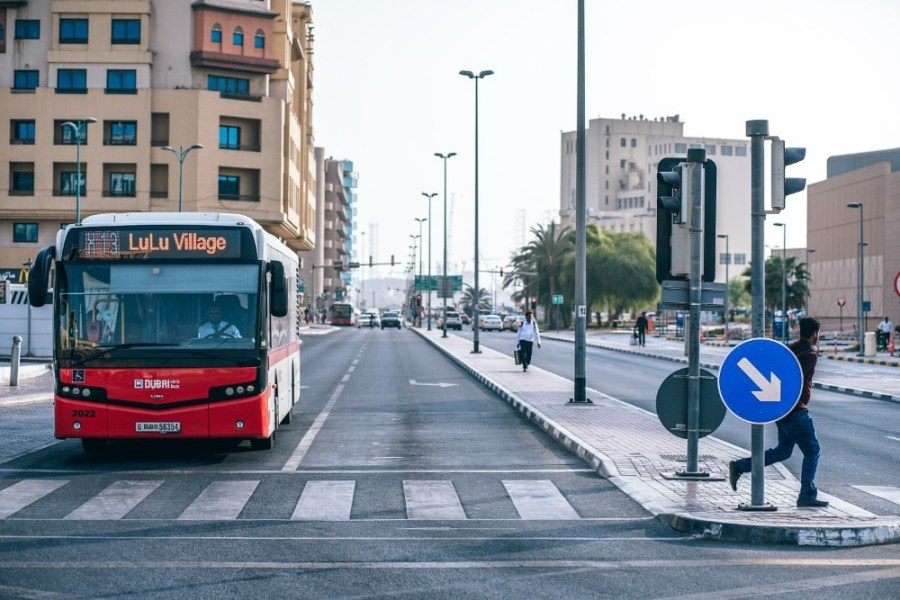 Red-Public-Transport-Bus-Waiting-for-the-Green-Light