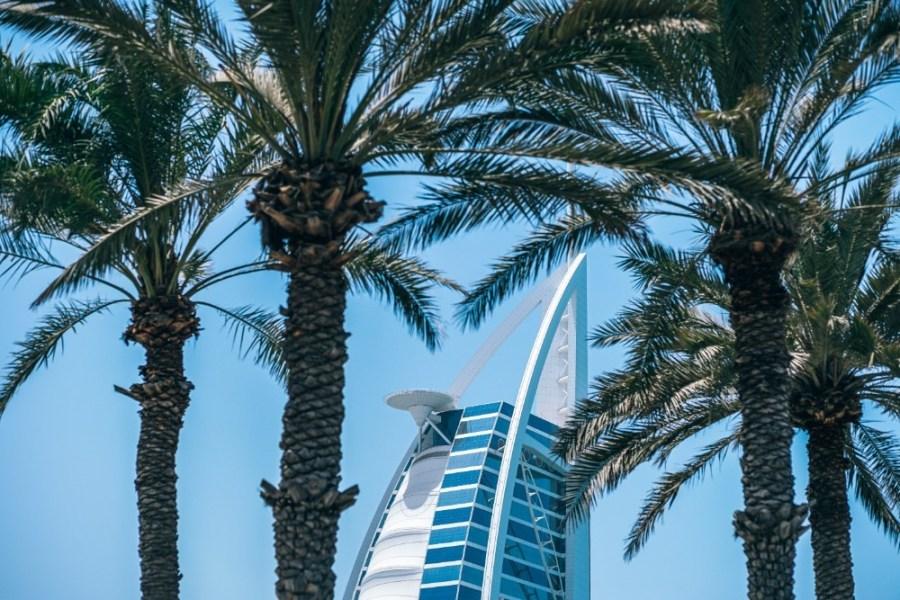 The-Burj-Al-Arab-Hotel-in-Dubai-Photographed-Behind-Palm-Trees