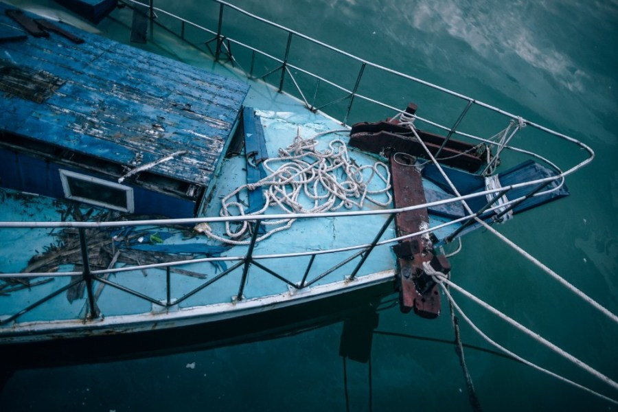 Abandoned-Blue-Boat-Photographed-from-Above