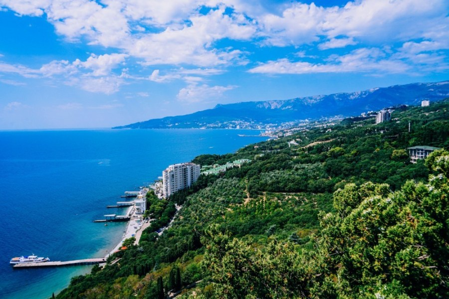 Aerial-View-of-the-Beautiful-Mountains-and-the-Black-Sea-in-Yalta
