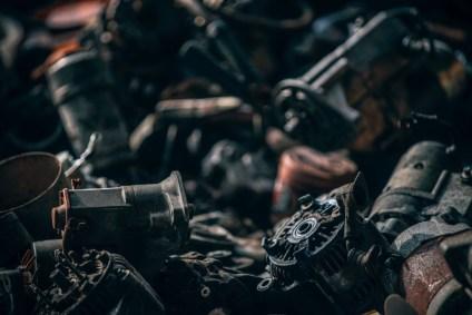 Close-up-Shot-of-Old-Metal-Parts-in-a-Junkyard