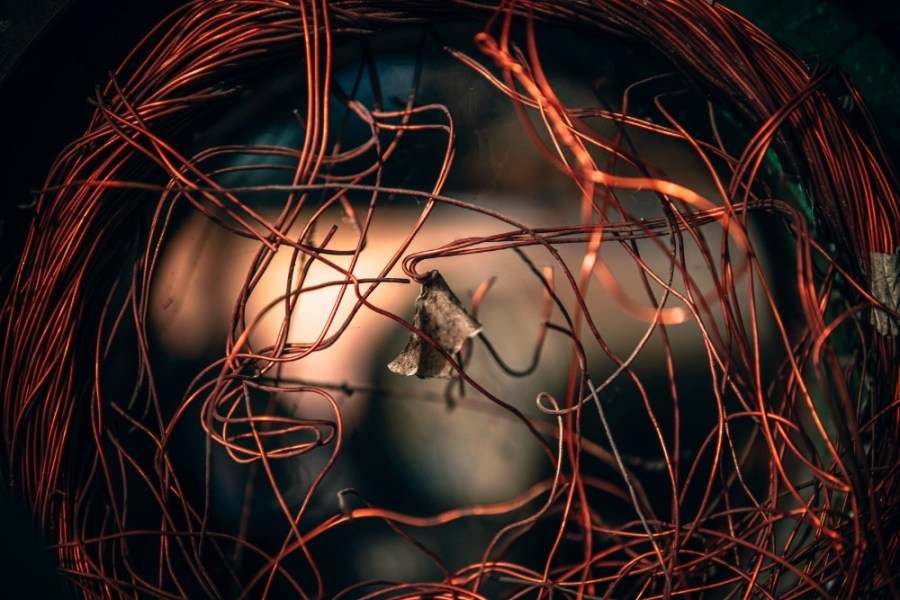 Close-up-Shot-of-a-Tangled-Copper-Wire