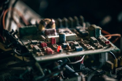 Close-up-Shot-of-a-Vintage-Circuit-Board