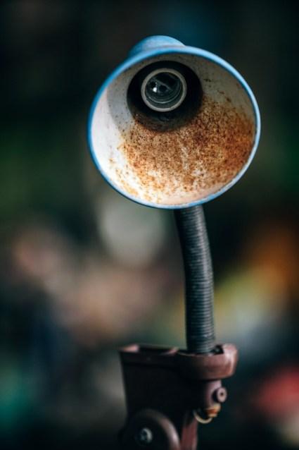 Close-up-Shot-of-an-Old-Broken-Lamp