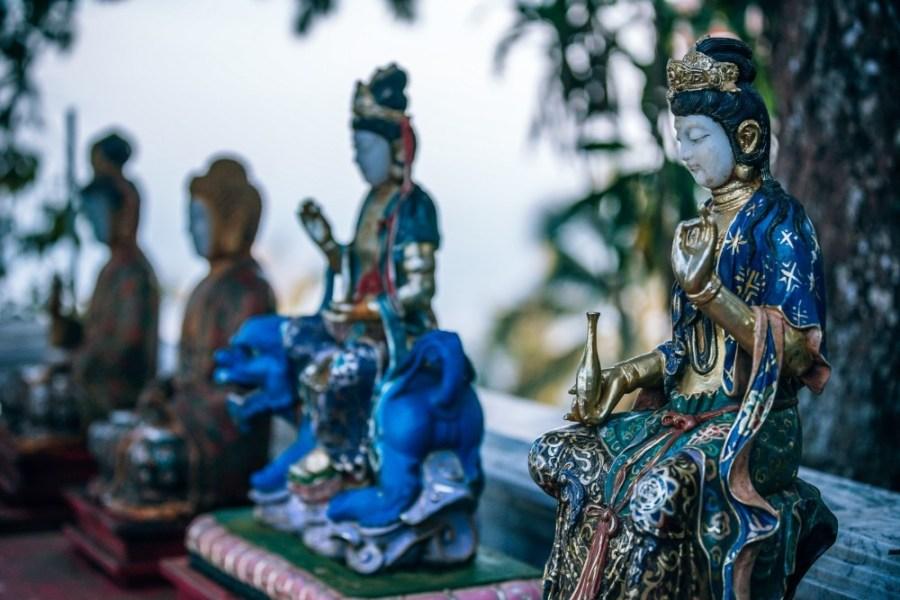 Four-Small-Thai-Statues-at-the-Doi-Suthep-Temple