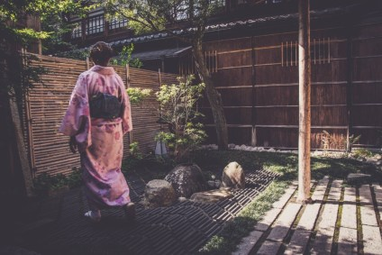 Woman-in-a-Pink-Japanese-Kimono-Photographed-in-a-Chill-Garden
