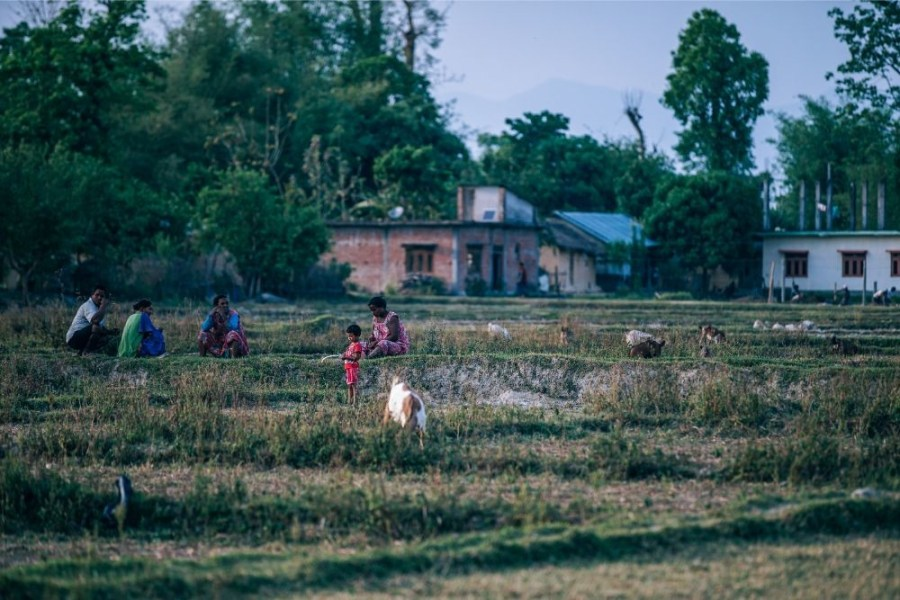 Nepali-Family-Enjoying-the-Weather-at-a-Village-Field