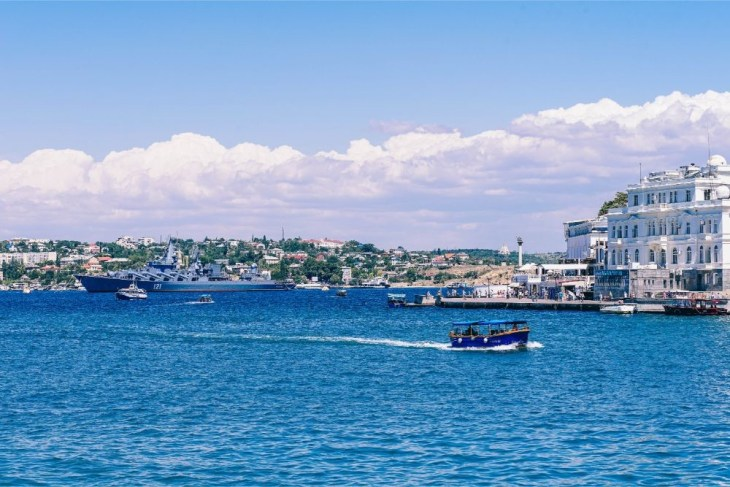 Small-Passenger-Boat-Floating-Through-the-Sea-in-Sevastopol