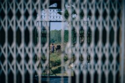 Woman-Walking-a-Cow-Photographed-Through-a-Metal-Fence