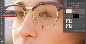 remove glare from photo glasses mixer brush tool