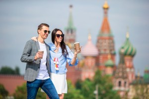 young dating couple in love walking in city backgr CHVTS