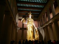 Giiiiiiiant Athena statue inside the Parthenon.