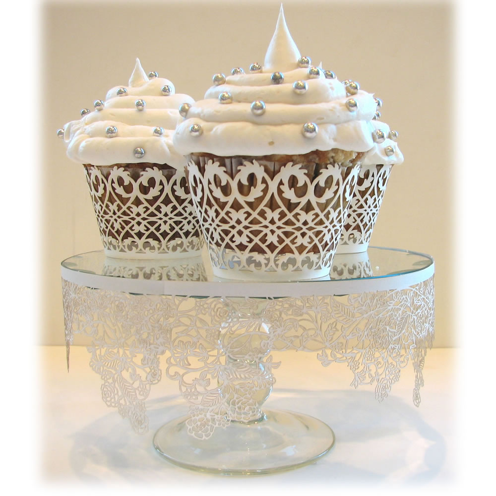 White Filigree Cupcake Wrapper
